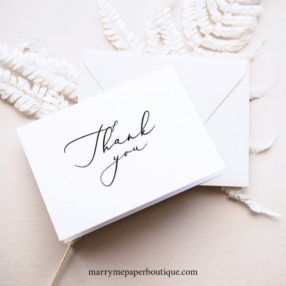 Thank You Card Template, Fold, Elegant Script, TRY BEFORE You BUY,  Editable Instant Download