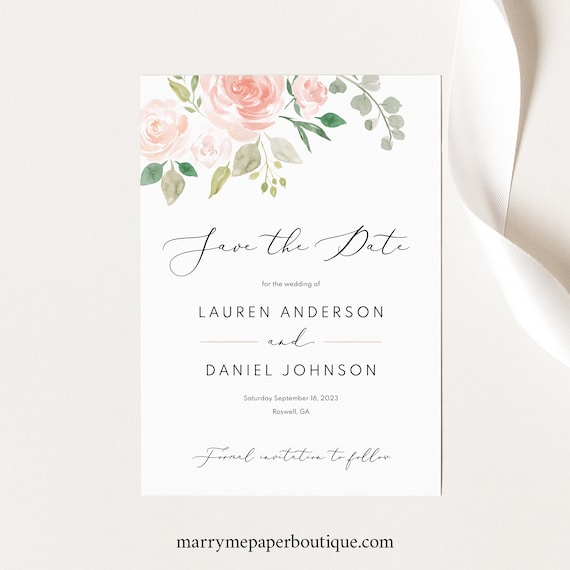 Save the Date Template, TRY BEFORE You BUY, Fully Editable & Printable, Instant Download, Blush Floral