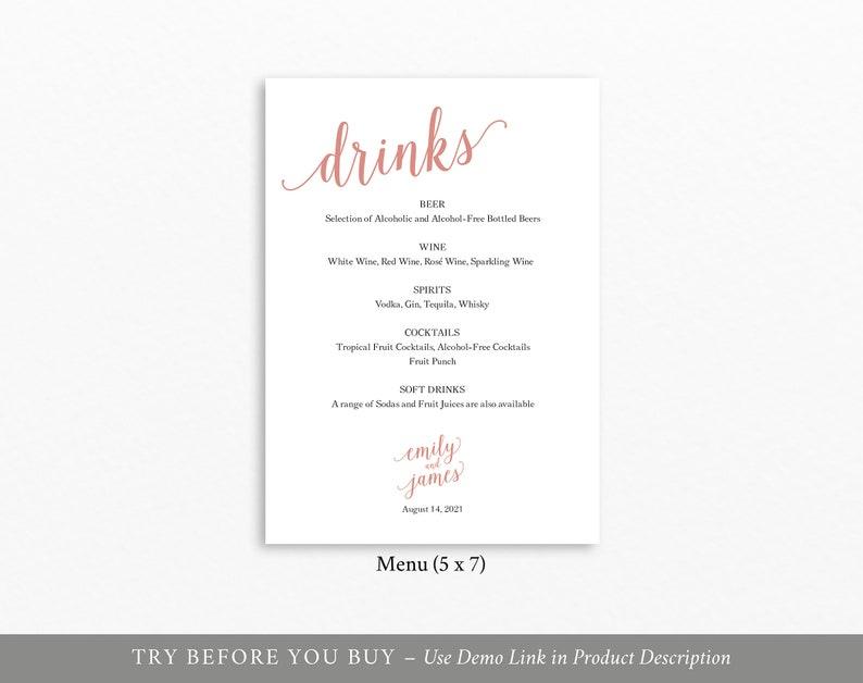 Instant Download Printable Wedding Rose Gold Drinks Menu Editable Rose Gold Menu Rose Gold Wedding Drinks Menu Template