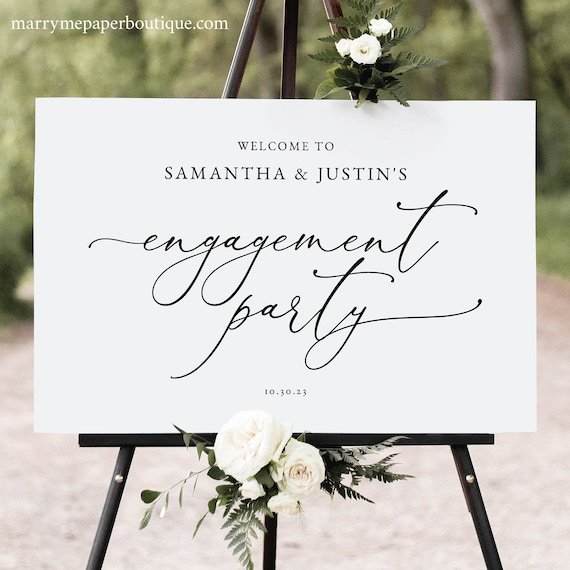 Engagement Party Welcome Sign Template, Classic & Elegant, Classy Engagement Party Sign, Printable, Editable, Templett INSTANT Download