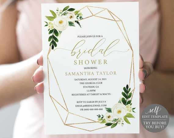 Bridal Shower Invitation Template, TRY BEFORE You BUY, Editable Instant Download, White Floral Geometric