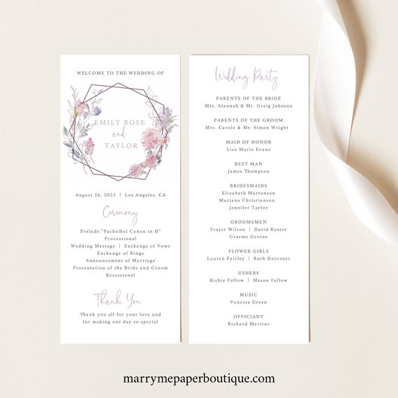Wedding Program Template, Pink & Lilac Floral, Boho Wedding Ceremony Program, Printable, Templett INSTANT Download, Editable