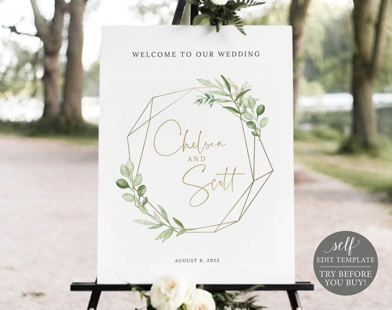 Wedding Welcome Sign Template, Greenery & Gold, Demo Available, Templett, Editable Printable Instant Download