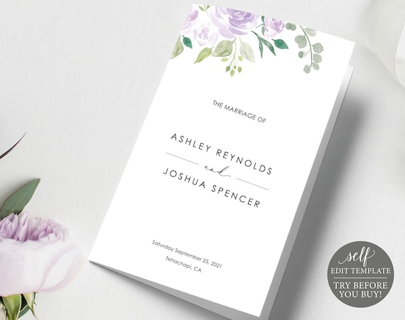 Wedding Program Template, Folded Catholic, TRY BEFORE You BUY, Editable Instant Download, Mauve & Lilac Floral