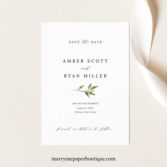 Greenery Save the Date Template, Green Leaf, Save Our Date, Card Printable, Templett Editable, Instant Download
