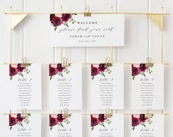 Burgundy Seating Chart Template, Printable Wedding Seating Chart Cards, INSTANT Download, Templett Editable