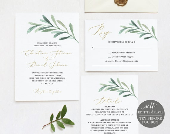 Wedding Invitation Set Templates, Greenery Leaf, TRY BEFORE You BUY, Fully Editable Instant Download