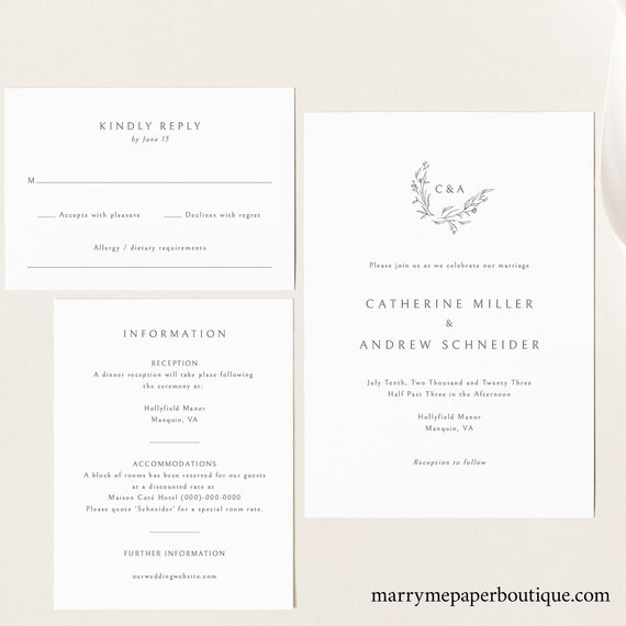 Wedding Invitation Template Suite, Editable & Printable, Templett Instant Download, Demo Available, Elegant Monogram