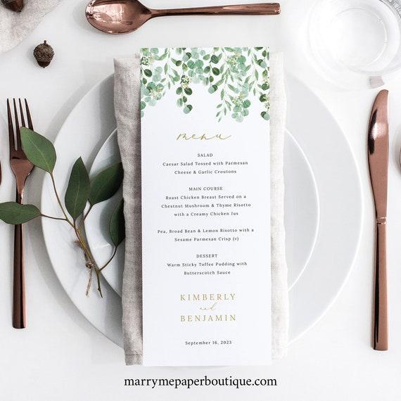 Wedding Menu Template, Garden Greenery, Templett, Editable, Wedding Menu Printable, INSTANT Download