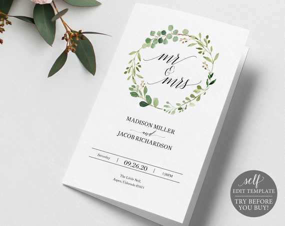 Program Template, Greenery Folded, Editable Instant Download, TRY BEFORE You BUY
