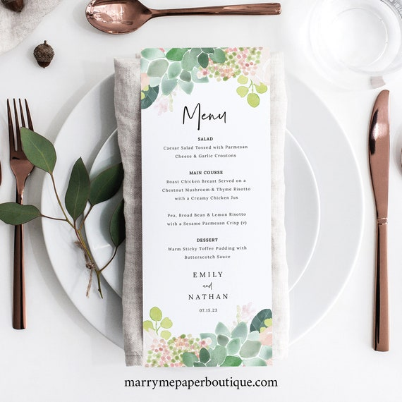 Succulent Floral Menu Template, Greenery, Wedding Menu Printable, Templett, INSTANT Download, Editable