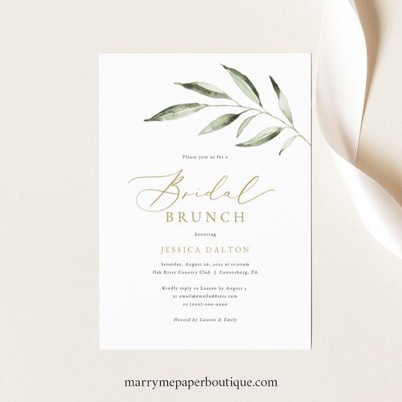 Bridal Brunch Invitation Template, Olive Leaf Greenery, Bridal Shower Brunch Invite Printable, Templett INSTANT Download, Editable