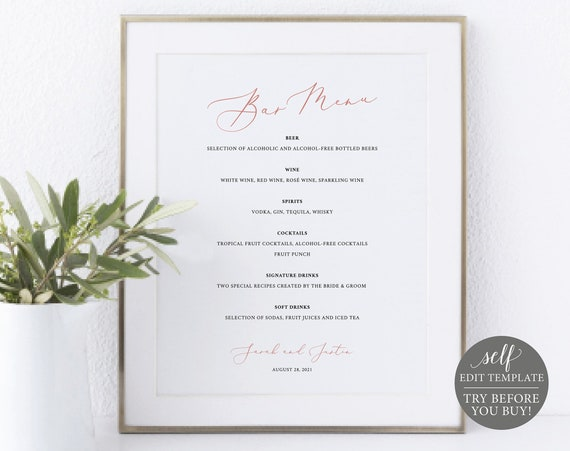 Bar Menu Sign Template, Rose Gold Script, TRY BEFORE You BUY, 100% Editable Instant Download