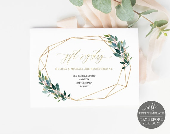 TRY BEFORE You Buy! Gift Registry Card Template, 100% Editable Wedding Printable, Instant Download