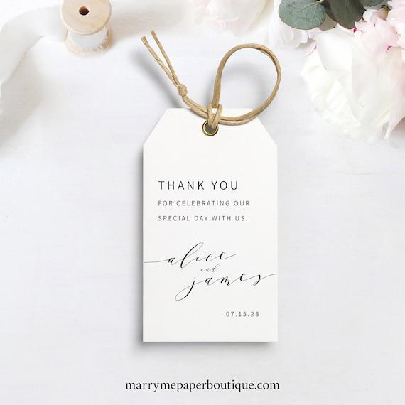 Elegant Favor Tag Template, Modern Wedding Gift Tag Printable, Instant Download, Templett Editable