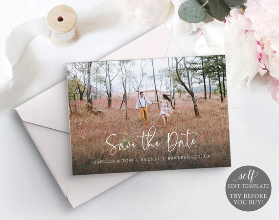Save The Date Photocard Template, 100% Editable Instant Download, TRY BEFORE You BUY