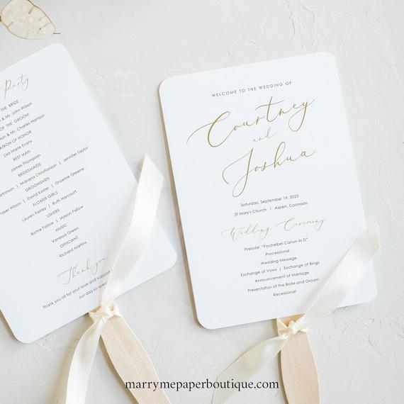 Wedding Program Fan Template, Elegant Gold Script, Printable Fan Program, 100% Editable, Templett, INSTANT Download
