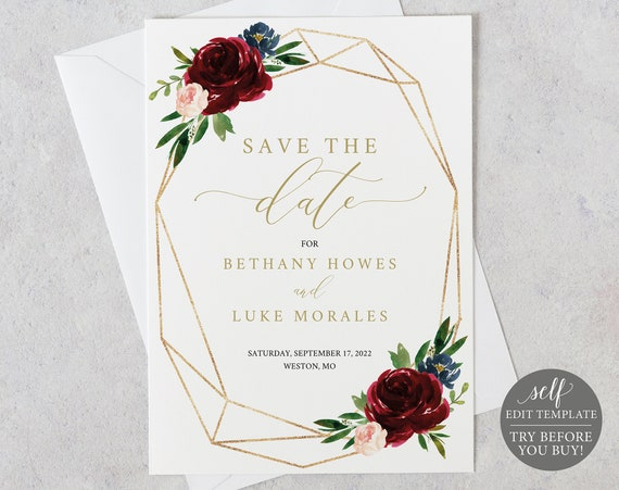 Save the Date Template, Burgundy Geometric, Demo Available, Printable Editable Instant Download