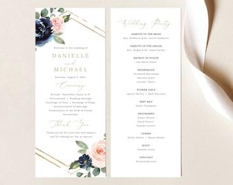 Wedding Program Template, Navy & Blush Floral, Wedding Ceremony Program, Printable, Tall Program, Templett INSTANT Download