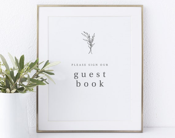 Guest Book Sign Printable, Modern Rustic, Wedding Sign, INSTANT Download, Non-Editable