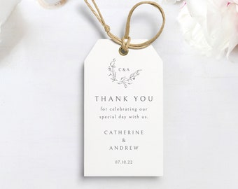 Favor Tag Template, Elegant Monogram, Editable & Printable Tag, Templett Instant Download, Try Before Purchase
