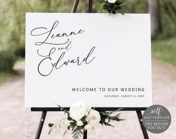 Wedding Welcome Sign Template, Editable & Printable Instant Download, Templett, Demo Available, Minimalist Script