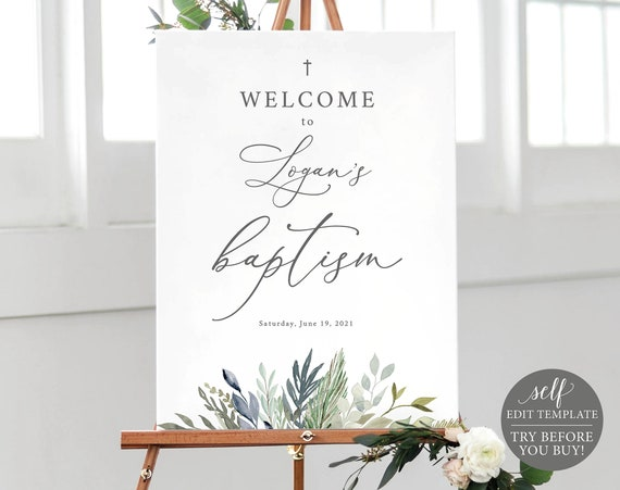 Baptism Welcome Sign Template, TRY BEFORE You BUY, Editable Instant Download, Greenery Foliage