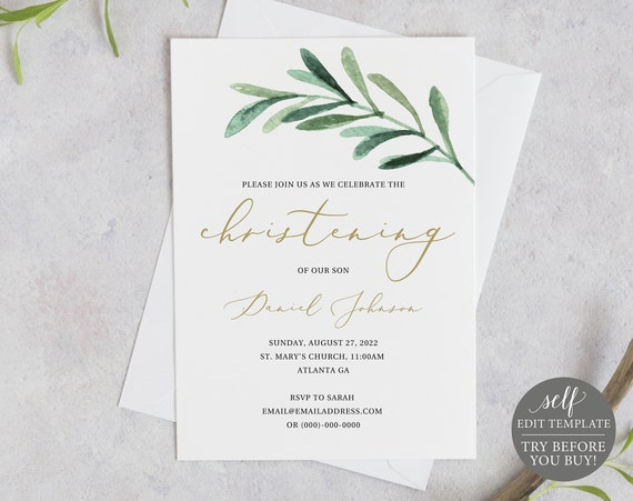 Christening Invitation Template, Editable & Printable Instant Download, Demo Available, Greenery Leaf