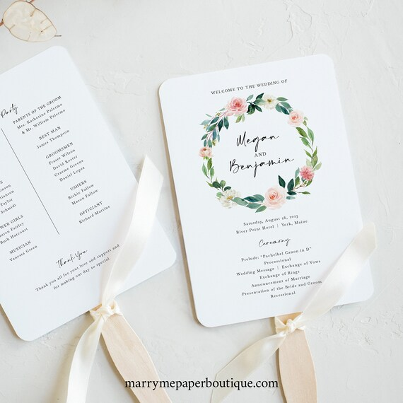 Wedding Program Fan Template, Blush Floral Greenery, Printable Wedding Ceremony Fan Program, Editable, Templett INSTANT Download