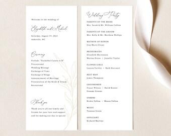 Wedding Program Template, Botanic Calligraphy, Wedding Ceremony Program, Printable, Gold Leaf, Editable, Templett INSTANT Download