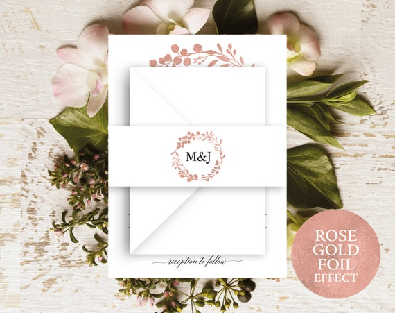 Rose Gold Belly Band Template, Printable Belly Band, Editable Belly Band, Wedding Initials, Monogram Template, PDF Instant Download, MM07-7