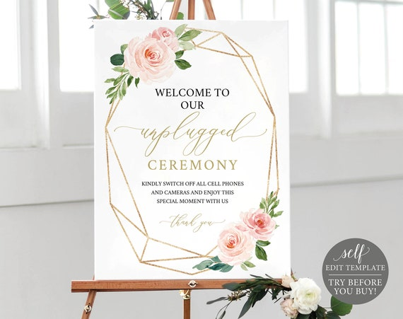 Unplugged Ceremony Sign Template, TRY BEFORE You BUY, Editable Instant Download, Blush Floral Geometric