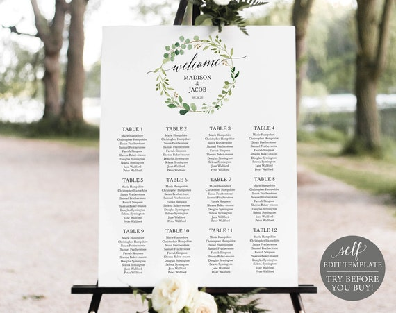 Seating Chart Template, TRY BEFORE You BUY, Editable Instant Download, Greenery