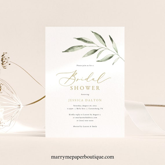 Bridal Shower Invitation Template, Olive Branch, TRY BEFORE You BUY, Editable Instant Download