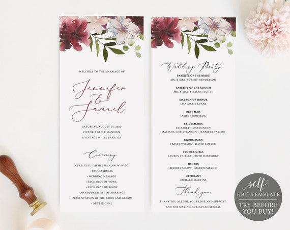 Wedding Program Template, Instant Download,  Printable Ceremony Program, Order of Service, 100% Editable, Self Edit, Floral, Burgundy