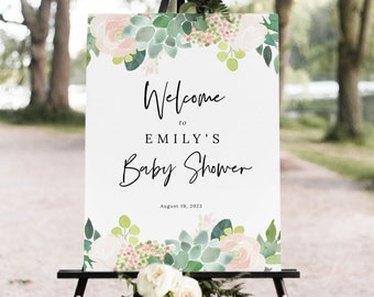 Succulent Floral Baby Shower Welcome Sign Template, Green & Blush Shower Sign Printable, Templett Editable, Instant Download