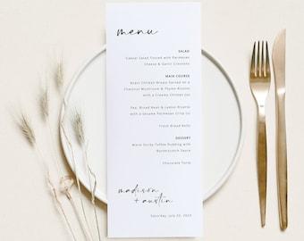 Menu Template, Handwritten Style, Modern Minimalist Wedding Menu Card, Printable, Editable, Templett INSTANT Download