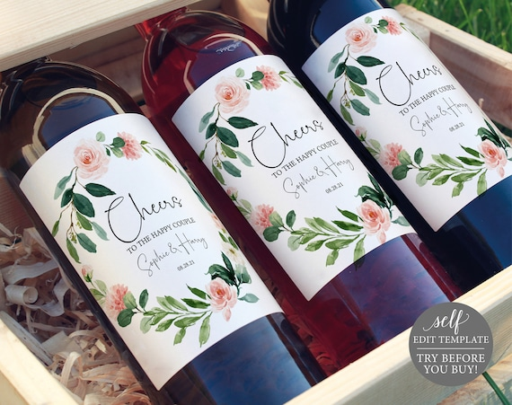 Wine Bottle Label Template, TRY BEFORE You BUY, Floral Greenery, Editable Instant Download