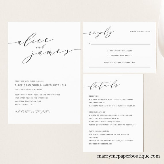 Elegant Wedding Invitation Template Set, Modern Wedding Invitation Printable, Instant Download, Templett Editable, Details & RSVP