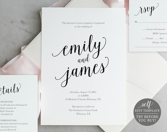 Wedding Invitation Set Templates, Modern Script, Fully Editable Instant Download, TRY BEFORE You BUY