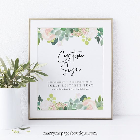 Succulent Floral Wedding Sign Bundle Template Set, Greenery Wedding Signs Printable, Instant Download, Editable Templett