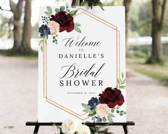 Bridal Shower Welcome Sign Template, Burgundy Navy, Templett Printable, Editable Instant Download