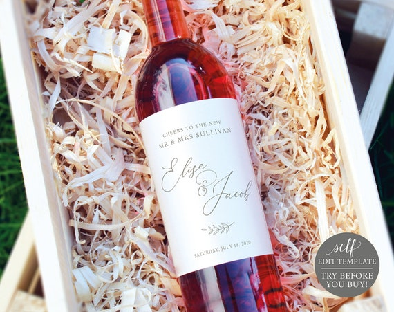 Wine Label Template, Editable Instant Download, TRY BEFORE You BUY, Elegant Font