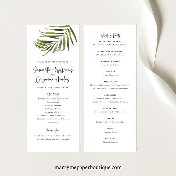 Tropical Wedding Program Template, Greenery Program Printable, Instant Download, Templett, Editable, Beach Wedding