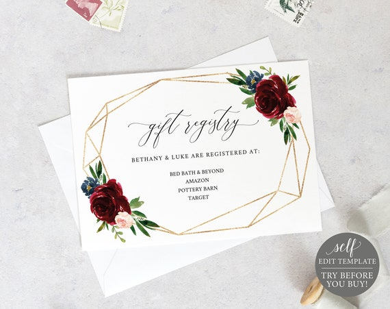 Wedding Registry Card Template, Printable Editable Instant Download, Demo Available, Burgundy Geometric