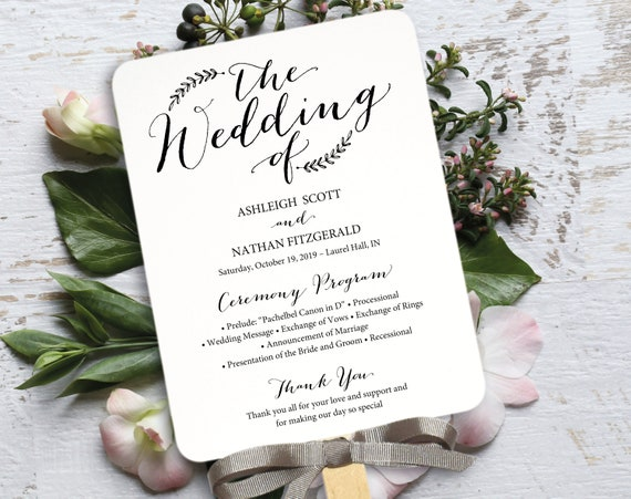 rustic wedding program fan template editable program etsy