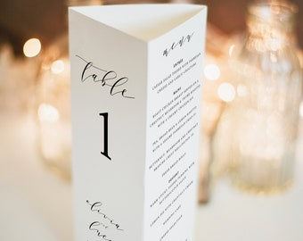 Wedding Table Number and Menu Template, Trifold, Elegant Calligraphy, Printable, Fully Editable, Templett INSTANT Download