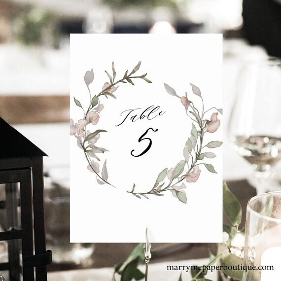 Table Number Template, Blush Floral, Greenery, Printable Table Number Sign, Editable, Templett INSTANT Download