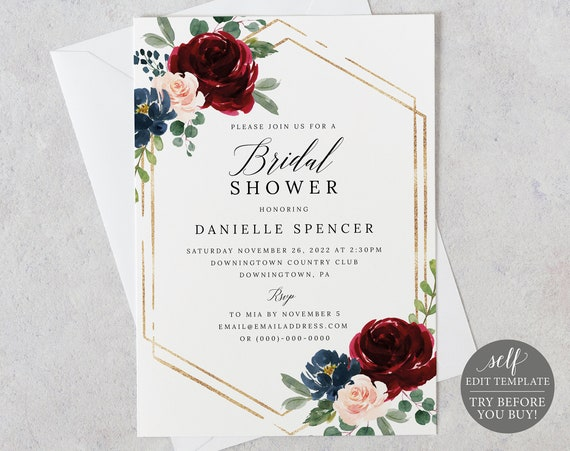 Bridal Shower Invitation Template, Templett Printable, Editable Instant Download, Burgundy Navy