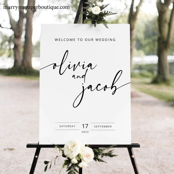 Wedding Welcome Sign Template, Modern Calligraphy, Templett Instant Download, Editable & Printable, Try Before Purchase